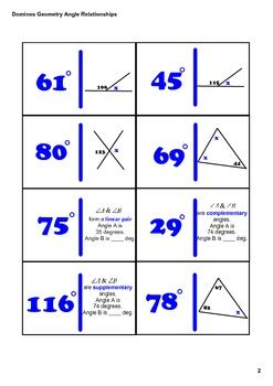 Dominos Geometry Angle Relationships By Melanie Helms Tpt