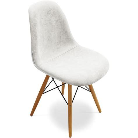 chaise coque blanche chaise fibre de verre blanc assise tissu blanc inspirée