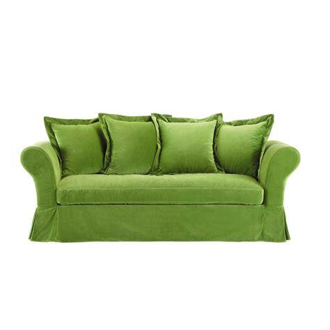 canapé fixe 4 places canapé 3 4 places fixe velours vert velvet maisons du monde