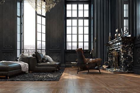 Black Parisian Interior Design Home Office by Beautiful Black Interior Showcased In A Historic