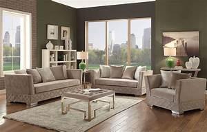 Tamara, Beige, Velvet, Living, Room, Set, From, Acme