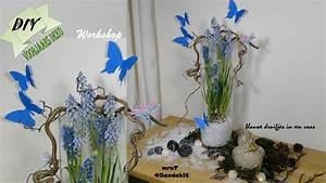 Frühlingsdeko Im Glas : diy fr hlingsdeko schmetterlingen muscari im glas i butterfly spring centerpiece ~ Orissabook.com Haus und Dekorationen