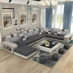 living room furniture modern U shaped fabric corner sectional sofa set design couches for living room with ottoman