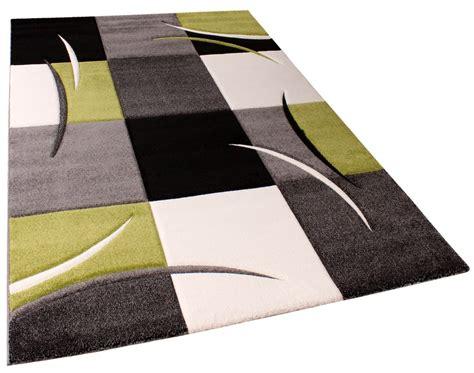 designer teppich mit konturenschnitt karo muster gr 252 n schwarz wohn und schlafbereich designer