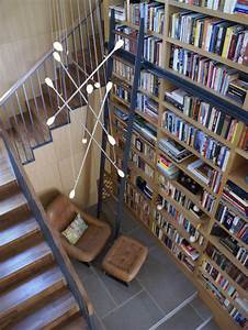 Above Bookcase Lighting Library Stairs Houzz