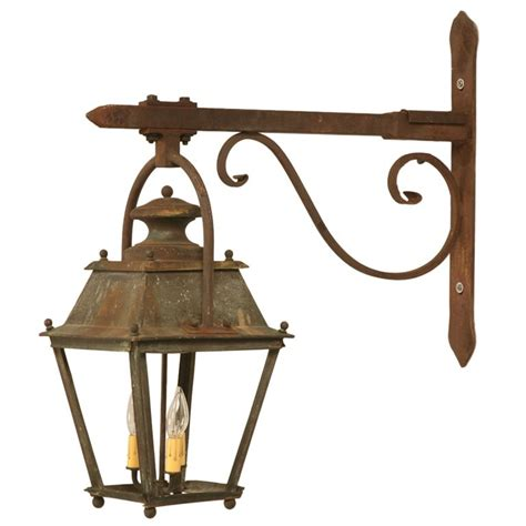 original antique french copper lantern on hand wrought