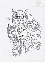 Tattoo Coloring Owl Clock Tattoos Sketsa Tato Adult Owls Hourglass Outlines Roses Gambar Burung Traditional Hantu Gypsy Malvorlagen Books Rose sketch template