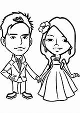 Coloring Anniversary Marriage Pages Couple Chibi sketch template