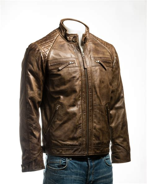 brown biker style men 39 s brown shoulder biker style leather jacket