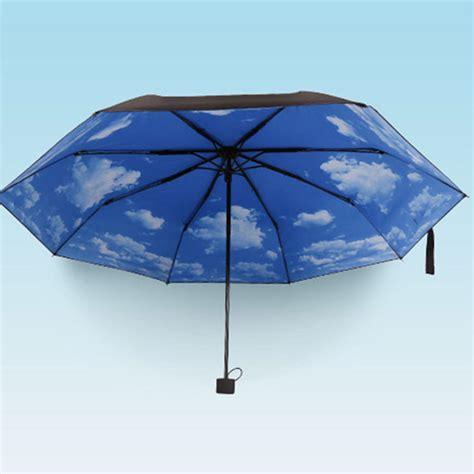parasol anti uv decathlon anti uv sun protection umbrella blue sky 3 folding gift