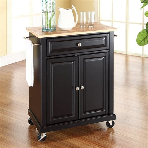 small portable kitchen island shop crosley furniture black craftsman kitchen cart at