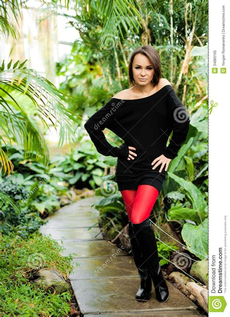 Pretty Woman Wearing Black Dress And Red Stockings Stock Image Image Of Female Beautiful