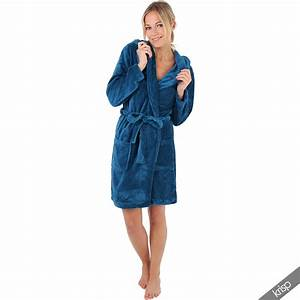 womens soft plain basic dressing gown hooded bath robe With robes housses