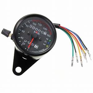 Universal Motorcycle Dual Odometer Speedometer Gauge Led Backlight Signal New