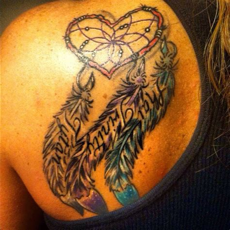 Dream Catcher Tattoo And Feathers With Kids Names In The