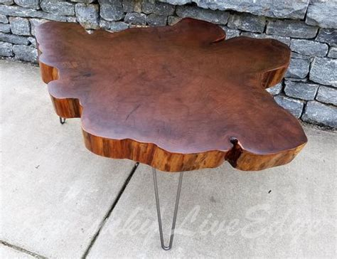 Hand Crafted Big Round Coffee Table- Live Edge Slab Table