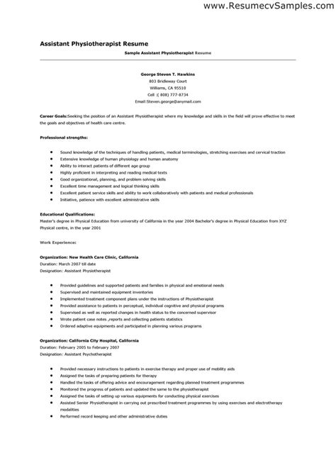 Resume For Physical Therapist by Physiotherapy Resume Format Resume Cv Cover Letter