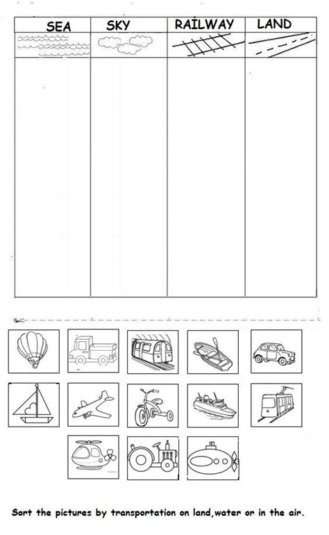 transportation worksheet ideas  pinterest