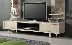 Table Pour Tv : meuble tv hifi couleur pierre contemporain cambela ~ Teatrodelosmanantiales.com Idées de Décoration