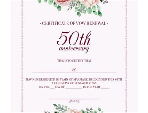 Vow Renewal Certificate Template by Free Gold Floral Vow Renewal Invitation