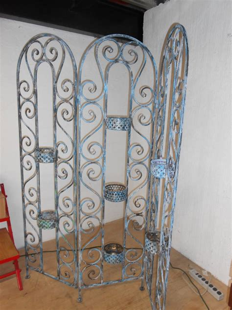 Fine Wrought Iron Folding Screen Or Room Divider Hand Made