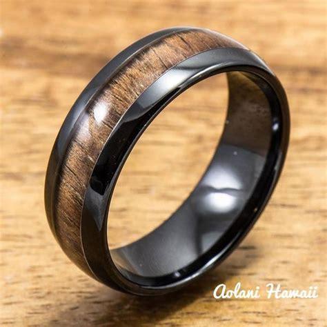 black ceramic ring  koa wood inlay mm  mm width