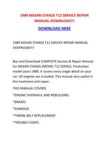 1989 Nissan Stanza T12 Service Repair Manual Download