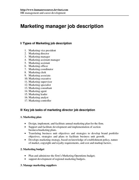 Marketing Manager Resume Description by Assistant Marketing Manager Description Marketing