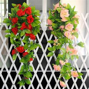 M artificial silk rose fake flower ivy vine hanging