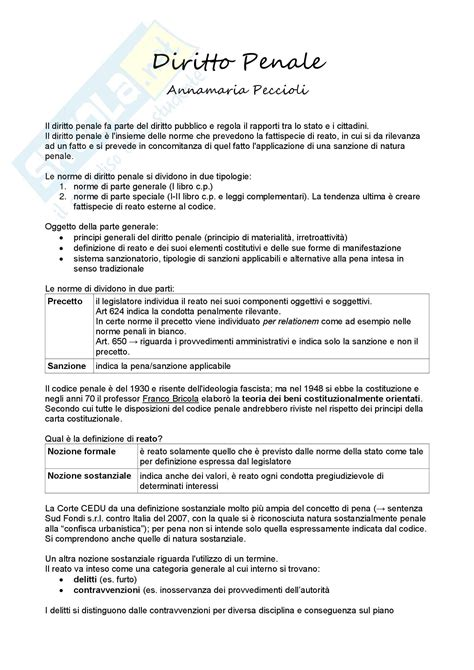 Dispensa Diritto Penale by Lezioni Appunti Di Diritto Penale