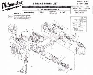 Milwaukee 1107-1 Parts List And Diagram