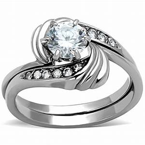 cjg2042 stainless steel aaa grade cz ring wedding ring With stainless steel wedding ring sets