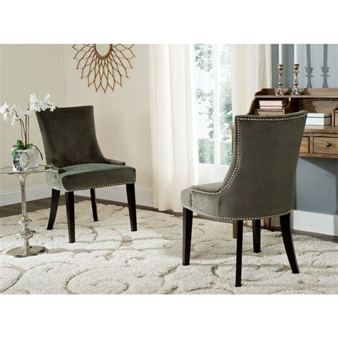 safavieh lester graphite cotton dining chair set of 2 mcr4709j set2 the home depot