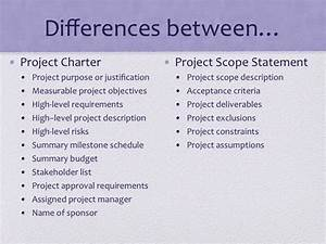 Pmp Study Guide  Difference Between Project Charter And