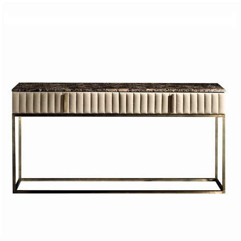leather console table touched d burnished brass leather marble top console