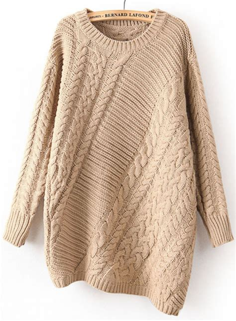 knit sweaters khaki sleeve asymmetrical cable knit sweater abaday com