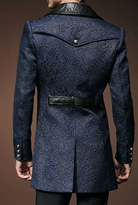 classic royalty navy blue black embroidered pea coat