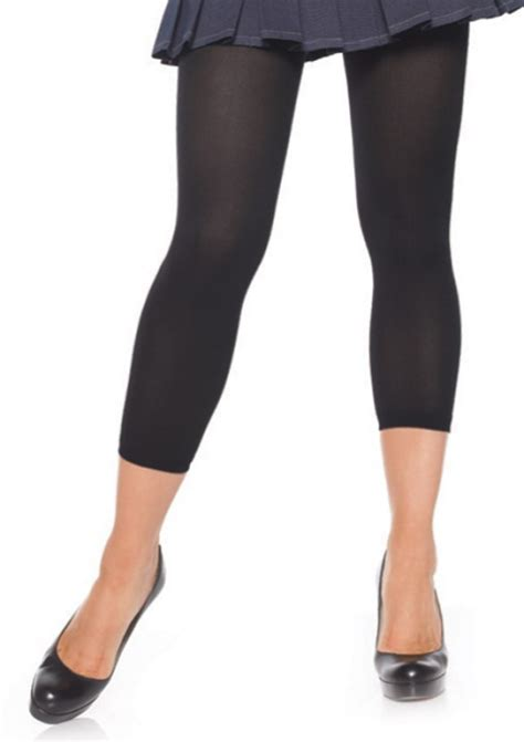 opaque footless tights black