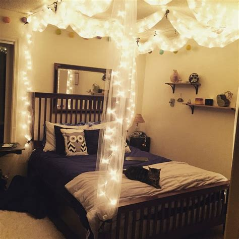 diy bed canopy  lights diy pinterest canopy