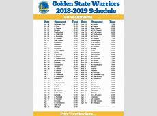 Printable Golden State Warriors Schedule 2018 2019