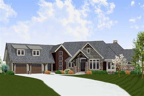 sloping lot craftsman house plan  bonus room