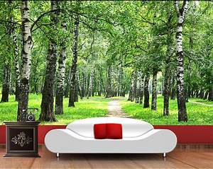 Custom nature wall murals, green forest landscape used in ...