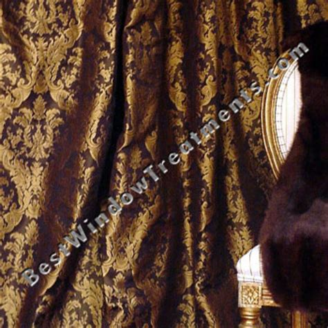 ready made black gold damask drapery curtain swatches