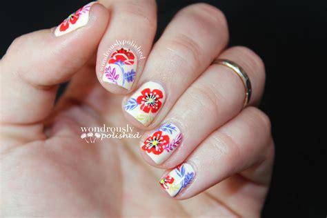 floral nail art   paint patterned nail art nail
