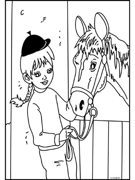 De Mooiste Kleurplaten Paarden by Kleurplaat Meisje Bij Haar Paard Kleurplaten Nl