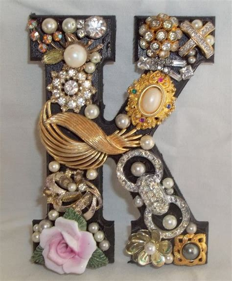 jeweled initial monogram letter   vintage jewelry crafts  jewelry crafts costume