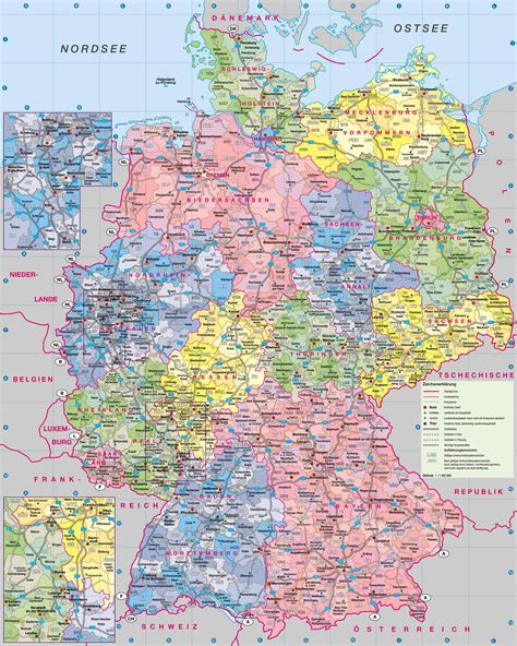 large administrative map  germany  roads  cities