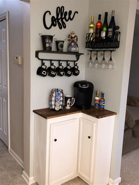 We have some empty spaces in our home that just wasn't sure what to do with. Corner coffee bar   Coffee bar home, Bars for home, Home coffee stations