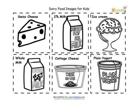 dairy food nutrition flash cards cut  printable  kids
