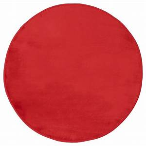 tapis rond velours diam 90 cm rouge decoandgo With tapis rouge rond